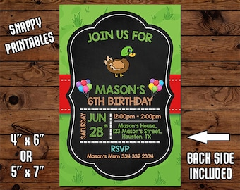 Duck Birthday Invitation, Birthday Invite, Party Invite, Printable, Digital File - 48