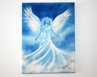 """Blue angel in the clouds 9""""x12"""" Canvas Print"""