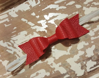 5in red leather double stacked bow on elastic