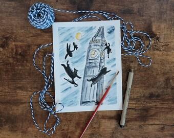 Peter Pan Big Ben Clock Tower Original Watercolor Painting