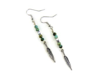 Rustic Feather Earrings, Turquoise Earrings, Boho Chic Earrings, Long Silver Feather Earrings, Turquoise Jewelry, Feather Jewelry