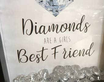 Diamonds are a girls best friend box frame, with crystals - black