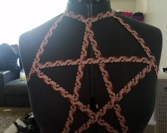 "PREMADE* Star blood splatter harness size 38""-40"""