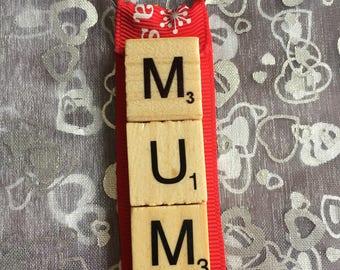 Mum Christmas scrabble Keyring, Scrabble keyring, Stocking filler, Christmas present, novelty gift