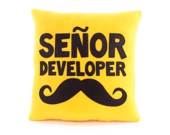 Senior developer pillow | Mustache cushion | Gift for programmer | Hipster pillow - SoftDecor