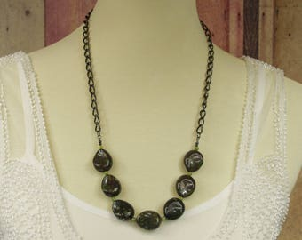 "Epidote and Peridot 26"" Necklace - Bohemian Gemstone Jewelry, Sundance Style Jewelry, Boho Hippie Statement"