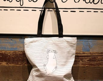 Customized sleepy cat printed tote, children's drawing bag, fashion tote, gift tote