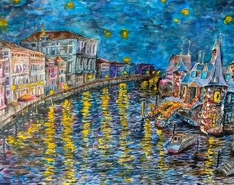 Night In Venice - 8x10 - Limited Run Art Print - Watercolor Giclee Print