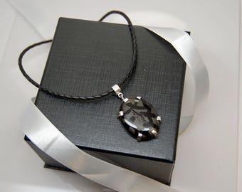 Black onyx Druzy Sterling silver necklace