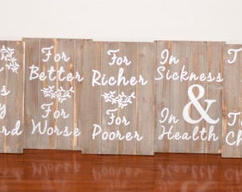 Wedding Vows wooden signs - Free Shipping