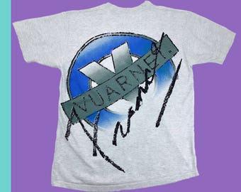 Vintage Vuarnet T Shirt France XL Made In USA Two Sided Big Spell Out Logo 80s Designer Sunglasses Alpine Ski Wear Sports