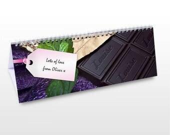 Personalised Milk Chocolate Desk Calendar Bar Gifts Ideas For Choccy Lover Girls Boys Womens Mens