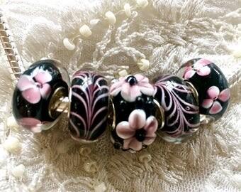 5 Murano Glass Beads Set, Lampwork Glass, Large Hole Beads, Euro Charm Bracelet Beads, Black Glass Beads