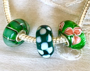 Murano Style Glass Beads with Sterling Silver Core, Set of 3 Beads, Green Lampwork Beads, Add a Bead