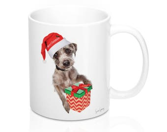 Christmastime Is About Being Present - Coffee Mug With Cute Santa Dog
