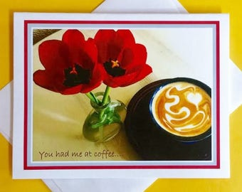 Coffee Greeting Card, Valentines Day Card, Coffee Lover Card, Coffee Valentines Card, Card for Coffee Lover, Card for Valentine, Love Card