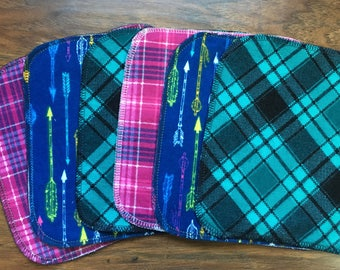 Baby Wipes, Baby Washcloths, 6-Pack Washcloths, Girl Washcloths, Flannel Wipes, Cloth Wipes, Baby Shower Gift, Baby Branch Boutique
