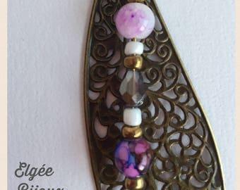 Leaf Bag charm - bronze, purple and pink