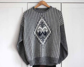Knitted Sweater Vintage Retro Grey White Casual Look Melange Retro  Black Long Top Loose Unisex Women Men / Extra Large