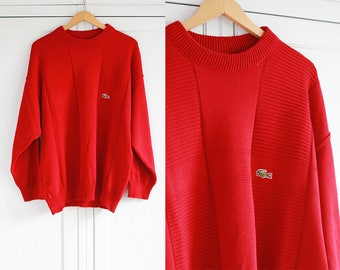 LACOSTE SPORT vintage sweater in red color Retro high fashion Knitted men clothing Thick and warm Long Top / Medium size