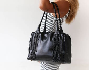 Leather Travel Bag For Women, Black Duffel Bag Women, Women's Weekender Bag, Duffel Bags For Women, Travel Bag Women, FREE SHIPPING!