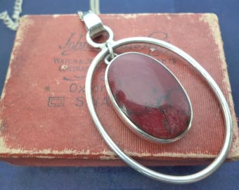 "Unusual modernist red jasper pendant - 925 - sterling silver - Pendant 2.2"" - Necklace - 16"" 2"" extension"