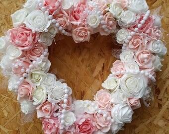 Wedding wreath, wedding decor, shabby chic decor, peach and white wreath, pearls, shabby chic wreath, rose wreath, peach roses, white roses
