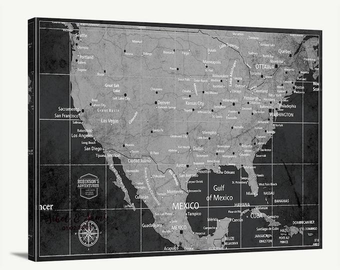 Map of America Large Wall Art World Map Push Pin Canvas Print Shop