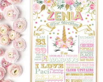 SALE Unicorn Birthday Chalkboard, Whimsical Unicorn, Magical Unicorn Sign, Floral Unicorn Poster, Pink Gold Unicorn Party