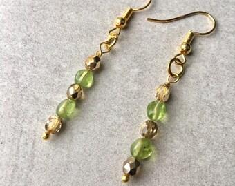 Peridot Earrings, August Birthday Gift, August Birthstone, Gold Earrings, Gemstone Earrings Peridot Jewelry, August Birthstone Jewelry