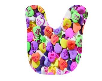 Personalized | Valentines day | Baby Bib | Cute Infant Bib | Newborn  gift | Conversation Hearts | Valentine's Day | Baby, infant | Custom