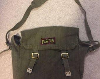 World famous army green messenger bag
