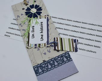 """Cardstock color leisure bookmark handmade """"bookmark"""" blue and gray with label """"a book a story"""" MP 8"""