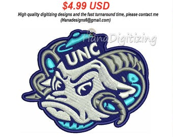 North Carolina Tar Heels Secondary Logo Machine Embroidery Design 3 Sizes