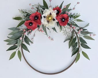 Red Poppy Hoop Wreath