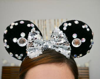 Black Velvet rhinestone Minnie Ears | Mickey Ears
