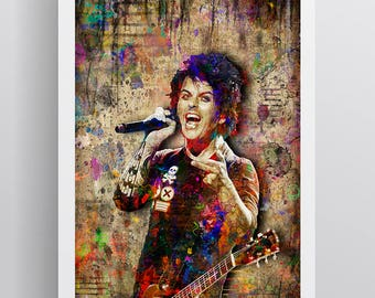 Billie Joe Armstrong Poster, Billie Joe Armstrong Gift, Billie Joe Armstrong Colorful Layered Tribute Fine Art for Green Day Fans