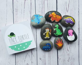 Dinosaur story stones, story telling set, birthday gift, unique gift, children's gift, handpainted gift