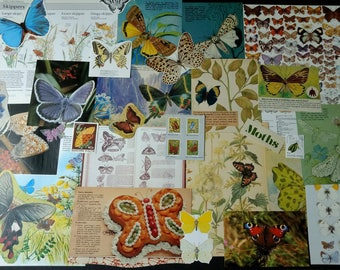 Vintage Nature Butterflies Junk Journal Kit, Paper Ephemera Scrap Pack, Upcycled for Scrapbooking, Junk Journals, Smash books, Paper Crafts
