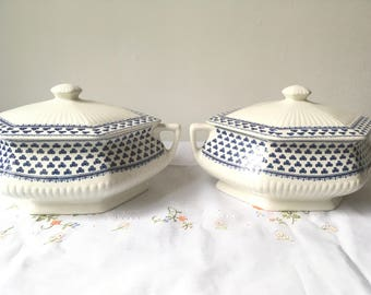 Vintage Adams English Ironstone Brentwood Footed Covered Vegetable Bowls