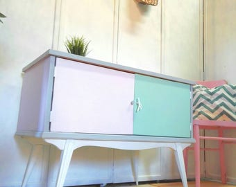 Sideboard table furniture Tv salon auxiliary needle Retro style climbing legs Pink White mint