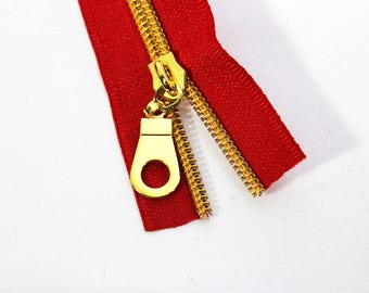 5 yds of Red Zipper by the Yard with Gold Coil & 15 Zipper Pulls, Nylon Metallic Zipper Kit, #5 Red Zipper Tape with Gold teeth.