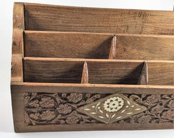 desk organizer. wood. hand carved. made in India.