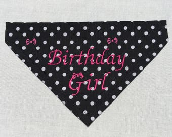 Birthday Girl Dog Bandana - Over the Collar