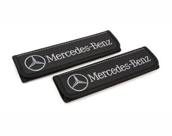 Mercedes Benz accessories interior 2 pcs. Leather Car Seat Belt Shoulder. Car Seat Strap Covers, Padded Strap Covers.