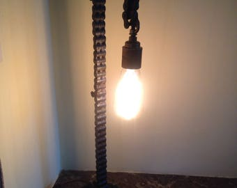 Handmade welded roller chain lamp industrial