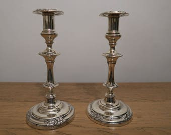 Pair of elegant silver plated candleholders, candlesticks, vintage shiny candleholders