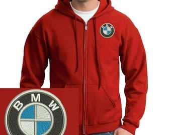 Bmw Logo Emboidered Hoodie Red Full-Zip Hooded Sweatshirt New