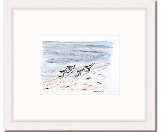4 x 6 shore bird print; Florida shore birds beach house wall decor, watercolor bird illustration | 4.1 x 5.8 in. print