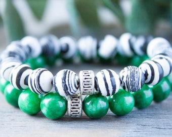 Long Distance Relationship Bracelet Couple Bracelets Zebra Bracelet His and Hers Black and White Matching Bracelets BFF Bracelet Green Jade